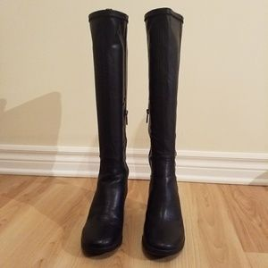 DKNY Stretch Wedge Heel Knee high Boots, size 7.5